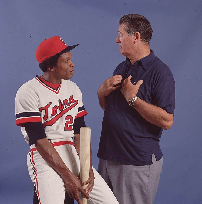 Rod Carew (pictured here with Ted Williams) steals home for the seventh time, establishing a new AL record and  tying Pete Reiser's major-league mark for swiping home in one season.