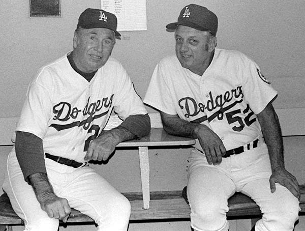Walter Alston (with Tommy Lasorda) wins his 2,000th game as Dodger manager.