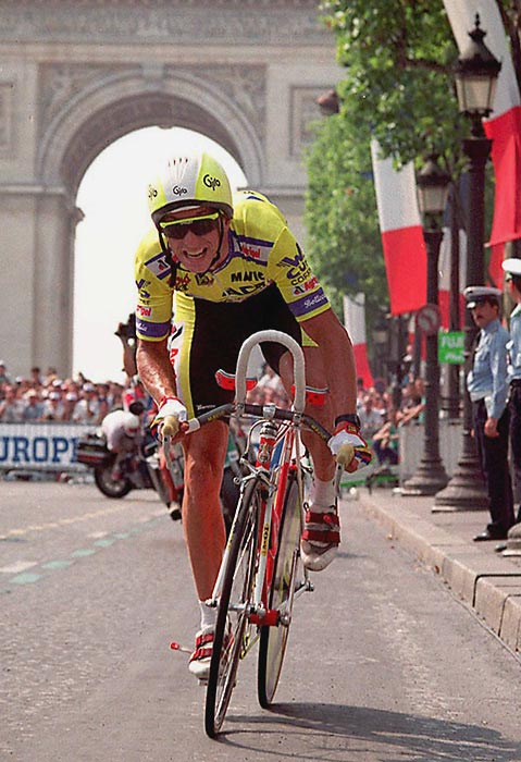 Greg LeMond wins his third and final Tour de France.