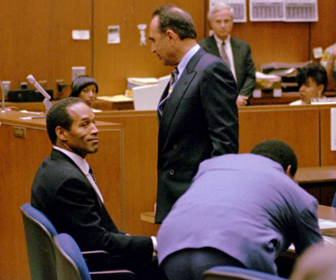 "O. J. Simpson pleads ""absolutely 100% not guilty"" to the charge of murder."
