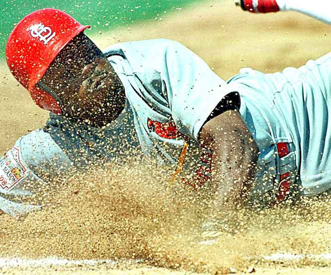 Vince Coleman's major league recording-setting consecutive stolen base streak ends at 50 as Expos' backstop Nelson Santovenia nails him trying to swipe second base. The Cardinal speedster surpassed the previous record of 38 established by Davey Lopes of the Dodgers in 1975.