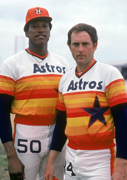 During a workout at the Astrodome, Houston hurler J.R.. Richard (pictured here with Nolan Ryan) suffers a stroke attempting to throw for the first time since being hospitalized for tests. Emergency surgery is performed to remove a blood clot behind his right collarbone, but the fireballer will never pitch in the major leagues again.