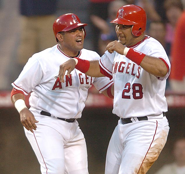 The Molina brothers, Bengie and Jose, both homer off Randy Johnson. The Angel teammates join Hank and Tommie Aaron, Matty and Jesus Alou, Aaron and Bret Boone , Billy and Tony Conigliaro, Al and Tony Cuccinello, Rick and Wes Farrell, Vladimir and Wilton Guerrero, Graig and Jim Nettles, Cal and Billy Ripken and Paul and Lloyd Waner as siblings who have gone deep in the same game.