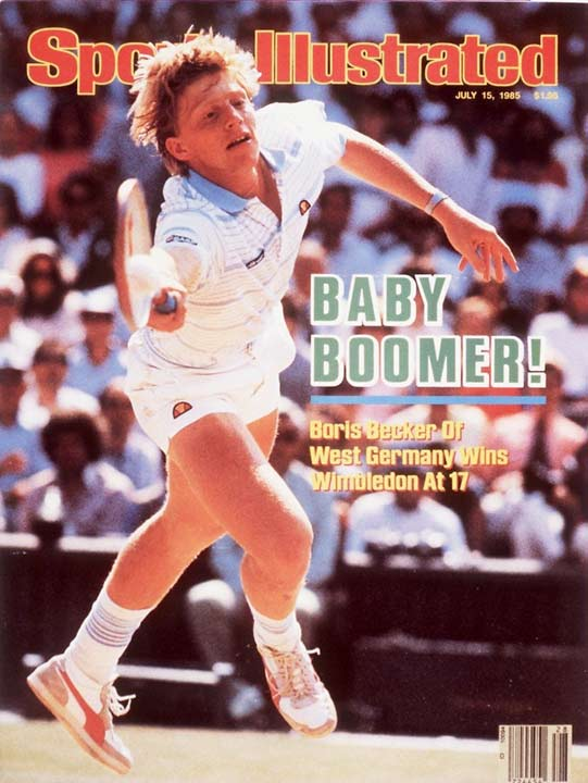 Boris Becker became the youngest, first unseeded and the first German player to win the Wimbledon men's finals.