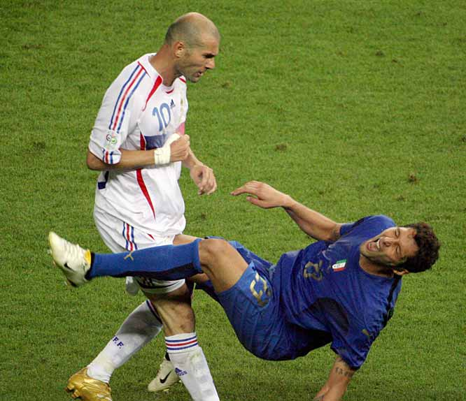 Italy wins the World Cup with a 5-3 victory over France. The match will best be remembered for French captain Zinedine Zidane getting a red card for headbutting Italian defender Marco Materazzi