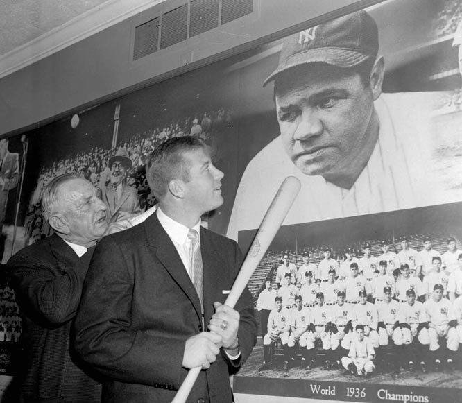 On Capitol Hill, Casey Stengel (left) and Mickey Mantle appear in front of the Senate Anti-Trust and Monopoly Subcommittee, which is investigating the baseball monopoly power in regards to the sport's antitrust exemption.