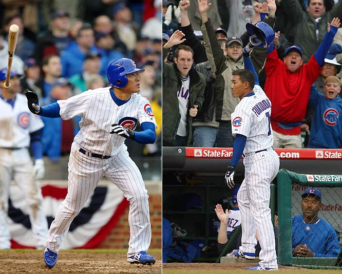 New Cubs rightfielder Kosuke Fukudome, making both his major-league debut, went 3-for-3 with a walk and hit a game-tying home run in the bottom of the ninth off Brewers closer Eric Gagne. Fukudome is hitting .296 with a .404 on-base percentage to help the Cubs to the National League's best record (50-33).