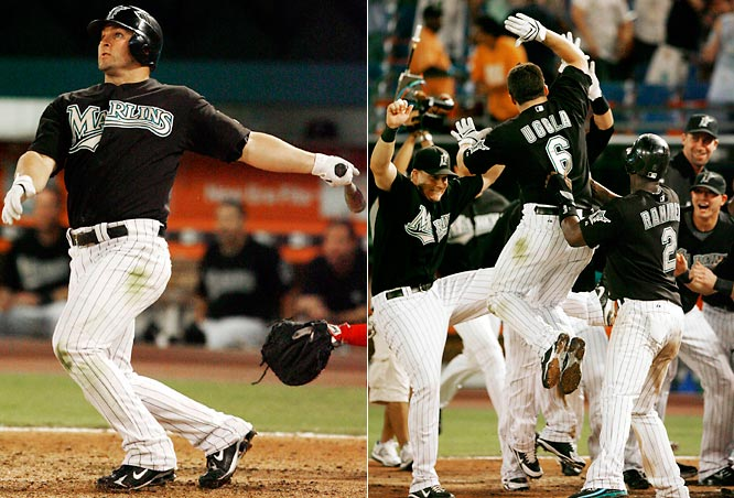 After striking out in his first three at bats, Marlins second baseman Dan Uggla replaced a possible golden sombrero for a victory crown by hitting a fastball from Phillies reliever Tom Gordon for a walk-off grand slam. Uggla, who is averaging a home run every 12.5 at bats (best in the NL), is tied with the Phillies' Chase Utley for the major-league lead with 23 home runs.