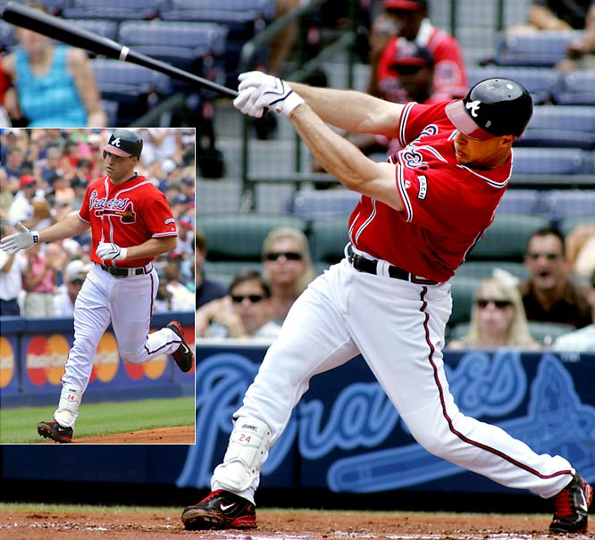 Atlanta Braves first baseman Mark Teixeira hits the majors' second three-homer game of the season. The switch hitter blasted the first two while batting lefty against Mariners starter Carlos Silva and nailed batting righty against reliever Ryan Rowland-Smith in an 8-3 Braves win. Joey Votto of the Reds had the first three-HR game, on May 7.