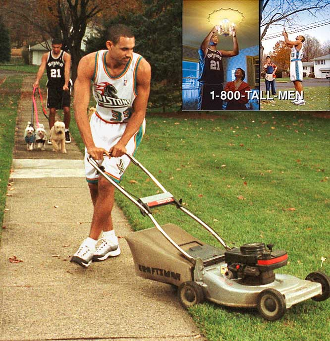 "Grant Hill, a young star with the Pistons in the late '90s, was criticized for not taking a higher profile during the six-month lockout. His Sprite commercial with Tim Duncan, in which the two spoofed their unemployment and lobbied viewers to call 1-800-TALL-MEN to hire them for odd jobs, also didn't sit well with fellow players. One player told the Detroit Free Press that rivals would be ""out to get"" Hill and ""take some shots"" at him on the court."
