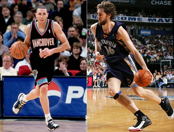 The Grizzlies never won more than 23 games in five seasons with Mike Bibby (left) and Shareef Abdur-Rahim north of the border, but made three straight playoff appearances from 2004-06 with Pau Gasol and new GM Jerry West in Memphis.