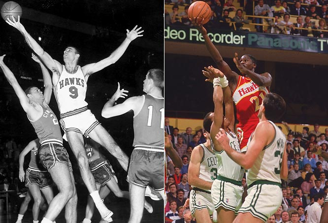 A charter NBA member, the Hawks moved from Iowa to Milwaukee to St. Louis (with star player Bob Pettit) to Atlanta, where Dominique Wilkins led the franchise to the postseason eight times in 11 seasons before the Hawks suffered an eight-year playoff drought.