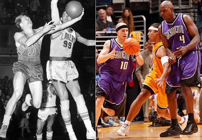 One of the NBA's 17 charter members, the franchise won its lone championship, led by Bob Davies (left), in 1951 as the Rochester Royals before moving to Cincinnati, Kansas City, and finally Sacramento, where the Kings missed the postseason in 11 of their first 13 seasons before Chris Webber and Mike Bibby helped the team to eight straight playoffs.