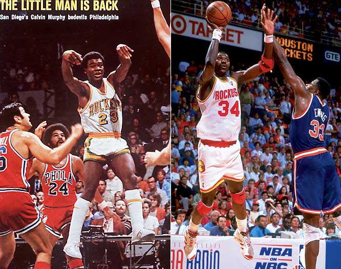 """Originally named the Rockets because San Diego called itself the """"City of Motion,"""" low performance and attendance forced the Rockets to be sold and moved to Texas, where the name took on a more relevant meaning. Despite being led by Calvin Murphy and future Hall-of Fame coaches Pay Riley and Rudy Tomjanovich in San Diego, the Rockets had a then-NBA record 67 losses in their inaugural season followed by two playoff-less seasons. Without their own stadium in Texas, the Rocket's move was rough -- they played one game in Waco in front of 759 fans. The broadcast crew used taped crowd noise. Later, with the first pick in the 1984 NBA Draft, the Rockets selected Hakeem Olajuwon (over Michael Jordan) who marked a new era in Rockets history."""