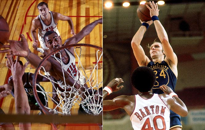 While in Philadelphia in 1962 Wilt Chamberlain scored a NBA-record 100 points, but was then moved West when ownership changed. In their first season in San Francisco, the Warriors lost to the Celtics in the NBA Championship and their record started going downhill from there before eventually moving to nearby Oakland where they won their only West Coast championship in the 1974-75 season, led by Rick Barry.