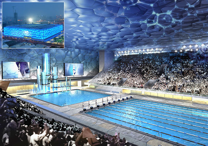 "Also known as the ""Water Cube,"" the Aquatics Center will accommodate 17,000 fans for the swimming, diving, water polo and synchronized swimming competitions. The outer structure is a steel frame filled with more than 100,000 square meters of ETFE (Ethylene Tetrafluoroethylene), a plastic which reduces energy costs by allowing increased light and heat penetration."