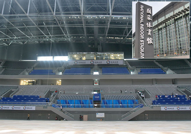 The Beijing National Indoor Stadium seats 19,000 fans and will host the artistic gymnastics, trampoline and handball competitions.