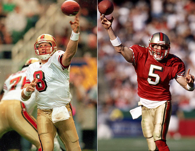 Although Garcia has never gotten his due, the former CFL star admirably stepped in for Young after his career was cut short due to injury. Garcia earned the first of three consecutive Pro Bowl berths during his first season as the 49ers' starting quarterback, and set team records for passing yards (4,278) in that season. Although San Francisco only finished with a 6-10 record during that first year, Garcia went on to guide the 49ers to consecutive playoff berths in subsequent years.
