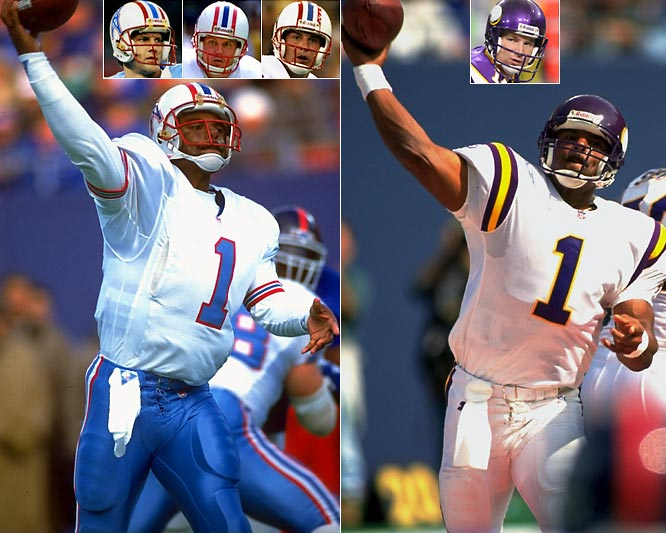 The nine-time Pro Bowler played for four franchises, but his stints with the Oilers and Vikings were high points of his career. However, both franchises jettisoned Moon in favor of younger quarterbacks, but the results were not favorable.  In Houston, the team handed the reins to Carlson (left inset) after trading Moon to Minnesota following a 12-4 season and an AFC Central division title. Carlson failed to deliver as expected and ultimately shared the job with Tolliver and Richardson (mid-left and right insets) the following year. The Vikings fared better than the Oilers in replacing Moon, as Johnson (right inset) put together a solid season in his first campaign as the team's starter. Though he didn't match Moon's flashy numbers, he completed more than 60 percent of his passes and ranked fourth in the NFC in passing prior to suffering a season-ending injury down the stretch.