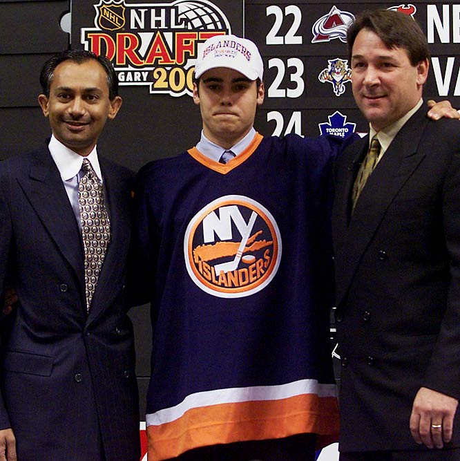 "The Isles instantly replaced Luongo in the 2000 draft by selecting Rick DiPietro, the first goalie to every be chosen first overall. In Sept. 2006, the Isles gave DiPietro a staggering 15-year, $67.5 contract -- prompting some wags to note that at least former co-owner Kumar will still be able to see him play for the Isles after he gets out of jail. DiPietro proved to be a formidable goaltender at first, then displayed a disconcerting knack for serious injuries that earned him the nickname ""Rickety."""
