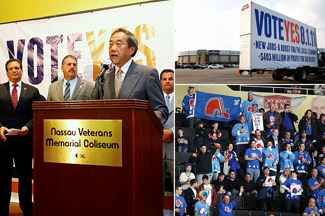 As Nassau Coliseum continued to crumble, team owner Charles Wang spent five years pursuing the grandiose $3.74 billion Lighthouse Project that included a renovated arena, a hotel, stores, residences, sports facilities and other amenities on the arena's 150-acre site. By October 2009, the ambitious scheme had been stymied by Hempstead Town Supervisor Kate Murray. With the team's future on Long Island, and perhaps in New York, dicey beyond 2015 when its arena lease expires, busloads of fans from Quebec showed up at December 2010 game to emphasize that their fair city would more than welcome the benighted franchise. In August 2011, despite a rally at the Coliseum to get out the vote, the few Nassau Country residents who went to the booth rejected a more modest proposal to borrow $400 million to simply replace the arena.