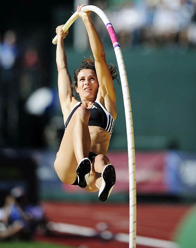 On her last attempt, Jennifer Stuczynsk saved her Olympic chances as she beat her own record in the pole vault, finishing the trials with a height of 16-1 3/4.