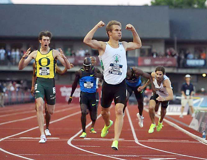 The trio from Oregon -- Nick Symmonds, Andrew Wheating and Christian Smith  -- surged late in the 800-meters to finish in dramatic fashion. Symmonds crossed the line with his arms raised, as Smith catapulted himself across the finish line to ensure his spot.