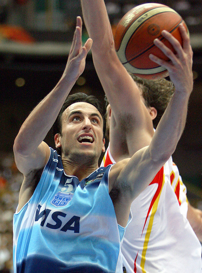 San Antonio's rough-and-tumble shooting guard is the only player to win a Euroleague title, an NBA championship and an Olympic gold medal. The southpaw from Bahía Blanca hopes to lead his country to a second consecutive gold medal, four years after his MVP performance in Athens.