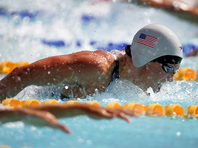 The 12-time gold medalist competed in four Olympics, winning eight relay golds and two individual medals. As the oldest member of the U.S. Olympic swimming team in 2004, at 31, she won sliver medals on the 400-meter freestyle and medley relays.