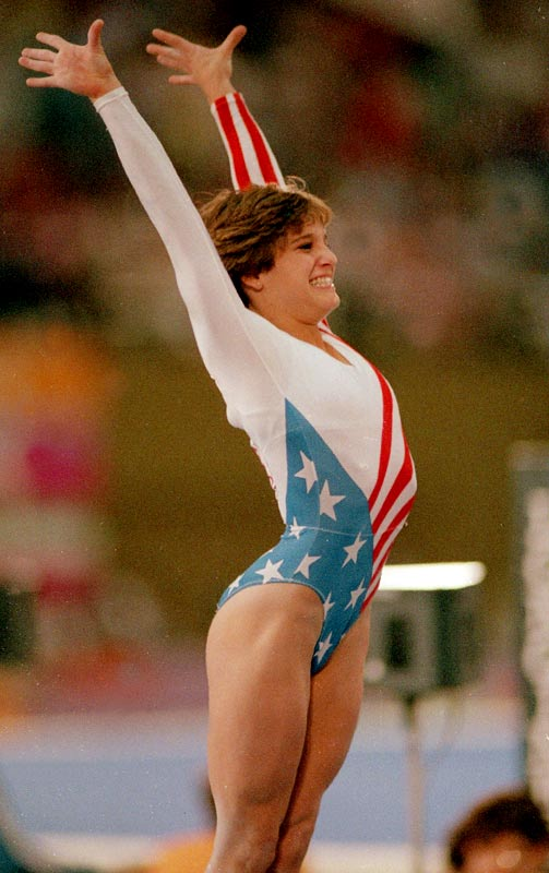 Retton became the first and only American to win the Olympic All-Around title, doing so at the 1984 Olympics, where she also won silver medals in the vault and team competitions and bronze in the uneven bars and floor exercise. Her five medals were the most of any athlete at the Los Angeles games.
