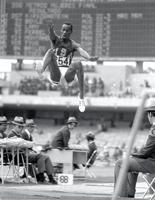Beamon's record-setting leap in the 1968 Olympics was so impressive it warranted a new adjective: `Beamonesque.' That leap, a long jump world record distance of 8.90 meters, shattered the previous record by 55 centimeters and endured as the world record until 1991. It was the only Olympic medal of Beamon's career.
