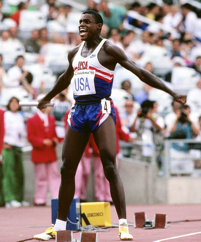 His nine gold medals -- including four straight long jump victories, the last coming at the age of 35 -- tie him for the most all-time for any athlete from any country. In 1984, he became the first American track athlete to win four gold medals at one Olympics since 1936, winning the same events Owens did (100 meters, 200 meters, long jump, and 4x100 meter relay).