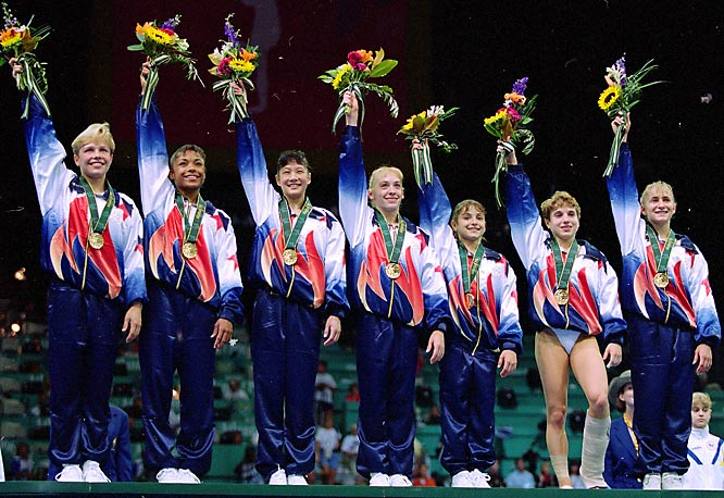 After Kerri Strug landed her final one-legged vault attempt, the Magnificent Seven became the first Americans to win the women's gymnastics team competition at the Olympics. Shannon Miller added gold in the balance beam and Dominique Dawes got bronze in the floor exercise.