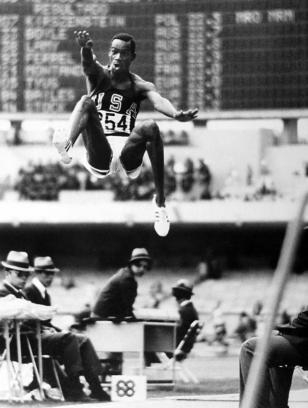 Between 1935 and 1968, the world long jump record increased exactly eight and one-half inches to 27 feet, 43/4 inches. In one jump, Beamon won gold and topped the world record by 21 3/4 inches, jumping 29 feet, 21/2 inches later, a record that stood for 23 years.