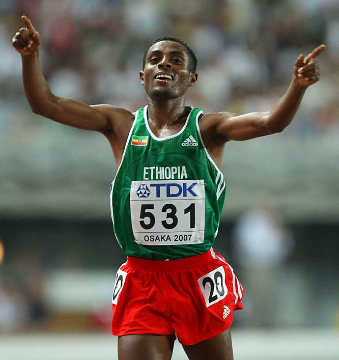 The world record-holder in both the 5,000 and 10,000, Bekele is the most accomplished runner in IAAF World Cross Country Championships history, with six long (12K) course and five short (4K) course titles. In 2005, Bekele grieved the loss of his fiancée, who died of heart failure during a run with him, but he returned to win gold at the 2005 world championships in the 10,000.
