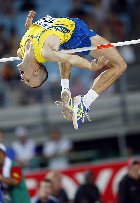 He's the reigning Olympic champion in his event, having leaped 2.36 meters in Athens. He also owns five medals from the world championships -- four of which are gold.