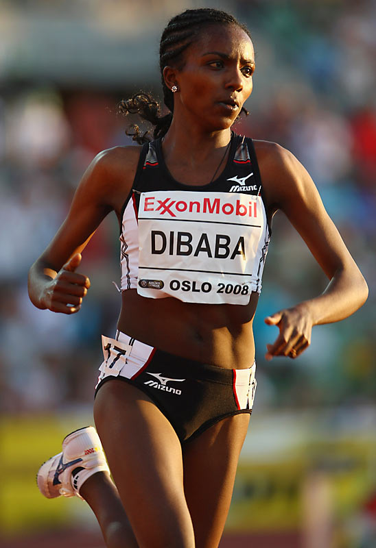 Known for her late burst of speed, Dibaba became Ethiopia's youngest medalist in 2004 when she won the 5,000-meter bronze in Athens at just 19 years old. Born into a family of runners (her cousin Derartu Tulu won the 10,000 meters at the 1992 and 2000 Olympics), Dibaba owns the 5,000-meter world record (14 minutes, 11.15 seconds), which she set at the IAAF Golden League Meeting in Oslo this year.