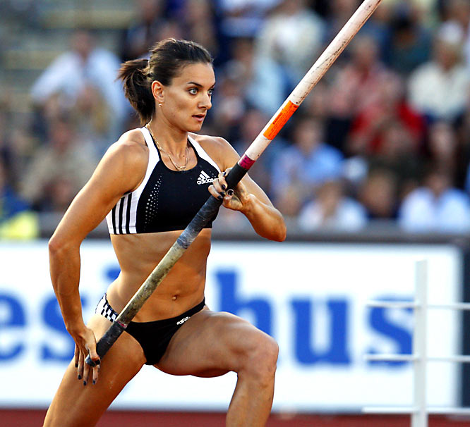 The defending Olympic champion, Isinbayeva set a new world record in Athens with a vault of 4.92 meters. But that record would only stand for about a month before she would re-set it. She has set the outdoor world record 12 times and is the first female to break the five-meter barrier.