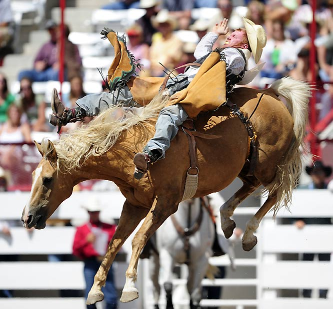 Wes Kleven competes in bareback riding.