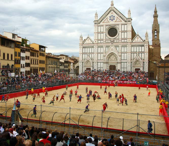 Part soccer, part rugby, part mixed martial arts, calcio fiorentino is a popular no-holds-barred game that is popular in Florence, Italy. First played in the 16th century, the sport has few rules and matches take place on a 100-by-50-meter sand pitch with goals running the width of the end zone. There are no timeouts or substitutions. It just might be the toughest and most brutal sport in the world.