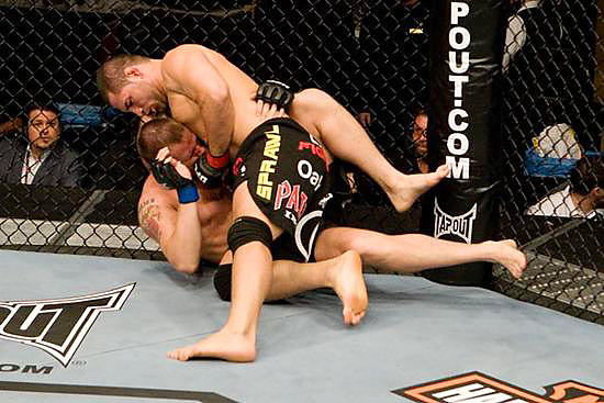 Extending his UFC record to 4-0, former Arizona State standout wrestler Cain Velasquez (top) defeated Jake O'Brien by TKO at 2:02 in the first round.