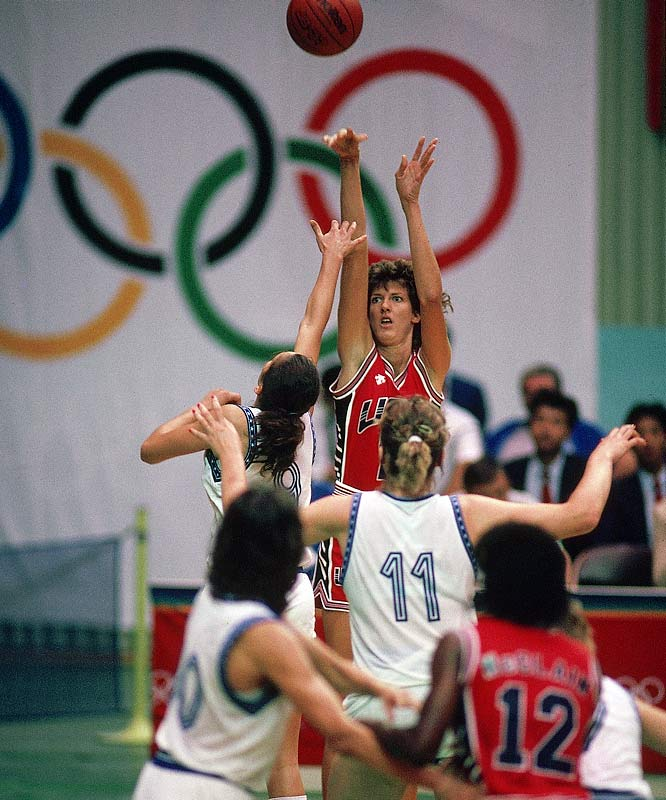 As their male counterparts stumbled to bronze, the U.S. women, led by Anne Donovan (pictured), Cynthia Cooper and Theresa Edwards topped Yugoslavia to take gold at the Seoul Olympics.