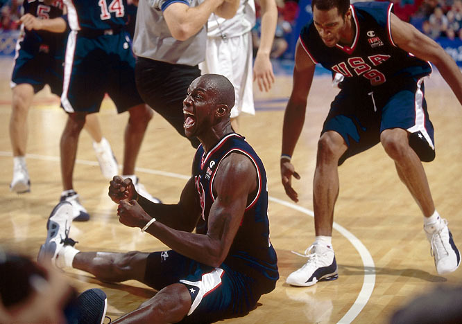 Kevin Garnett (seated) joined the Dream Team, helping it to its 12th gold medal in men's hoops after a win over France in the finals.