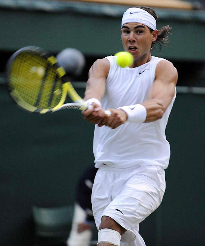 The left-handed Nadal denied 12 of Roger Federer's 13 break opportunities on the day.
