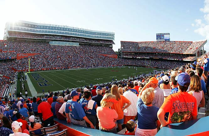 "When Florida Field was first nicknamed ""The Swamp,"" it was a jab at a program mired in the mud. But since Steve Spurrier took over as head coach in 1990, the Gators have turned ""The Swamp"" into a cathedral for 85,000 rabid football fans. The deafening crowds make it one of the most intimidating and electrifying college football stadiums and toughest venues for road team. After all, ""The Swamp"" is a place where ""only gators come out alive."""