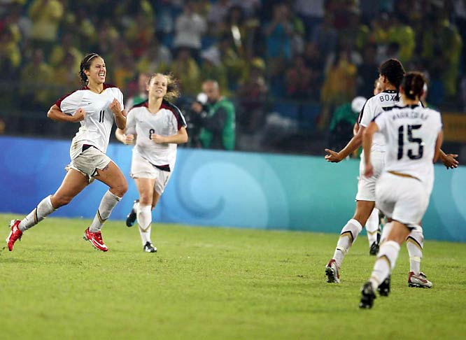 Carli Lloyd's (11) striking in the extra time to send the U.S. soccer team to a surprising upset of Brazil in the gold medal match.