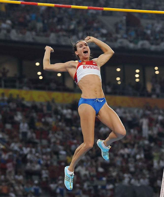 Gold medalist Yelena Isinbayeva clearing 5.05 meters, setting her 24th career pole vault world record.