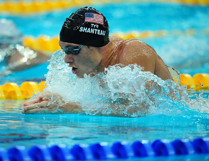 U.S. swimmer Eric Shanteau swimming in the men's 200-meter breaststroke after being told by his doctors a week before the U.S. trials that he had testicular cancer.
