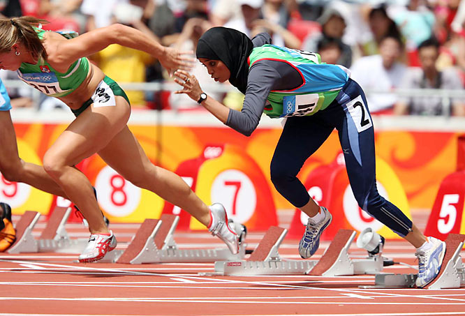 Waseelah Saad competing as the first female sprinter from Yemen. She ran while wearing a hijab.