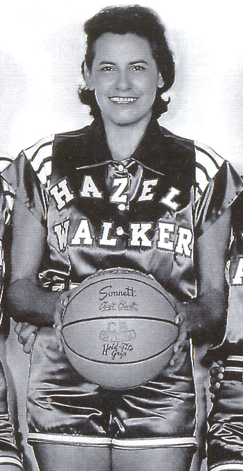 An 11-time All-America AAU player, Walker played three seasons with the all-women's All-American Red Heads before starting her own barnstorming team, Hazel Walker's Arkansas Travelers. The Travelers played for 16 seasons before Walker retired at 50, with the team having won 80 percent of its games against all-male competition.<br><br>Worthy of consideration: Bettye Fiscus.